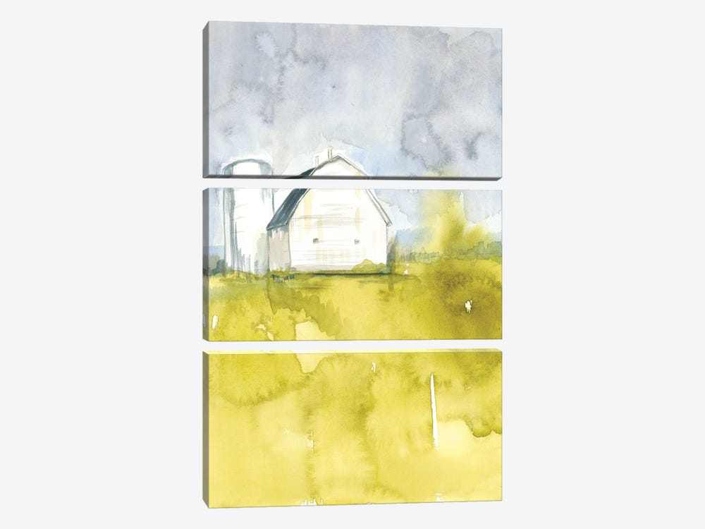 White Barn On Citron II by Jennifer Goldberger 3-piece Canvas Artwork