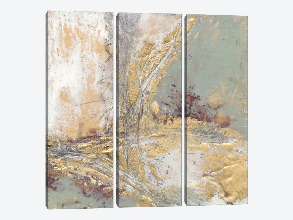 Gilded Circuit II by Jennifer Goldberger 3-piece Canvas Print