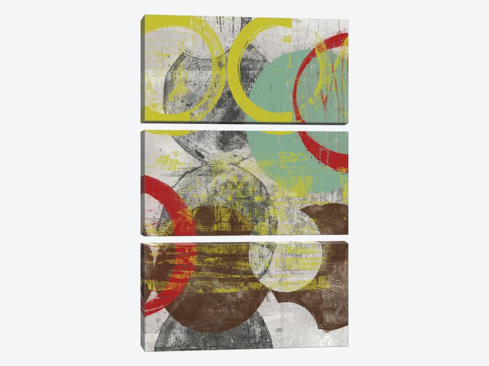 Layers & Circles I by Jennifer Goldberger 3-piece Canvas Print