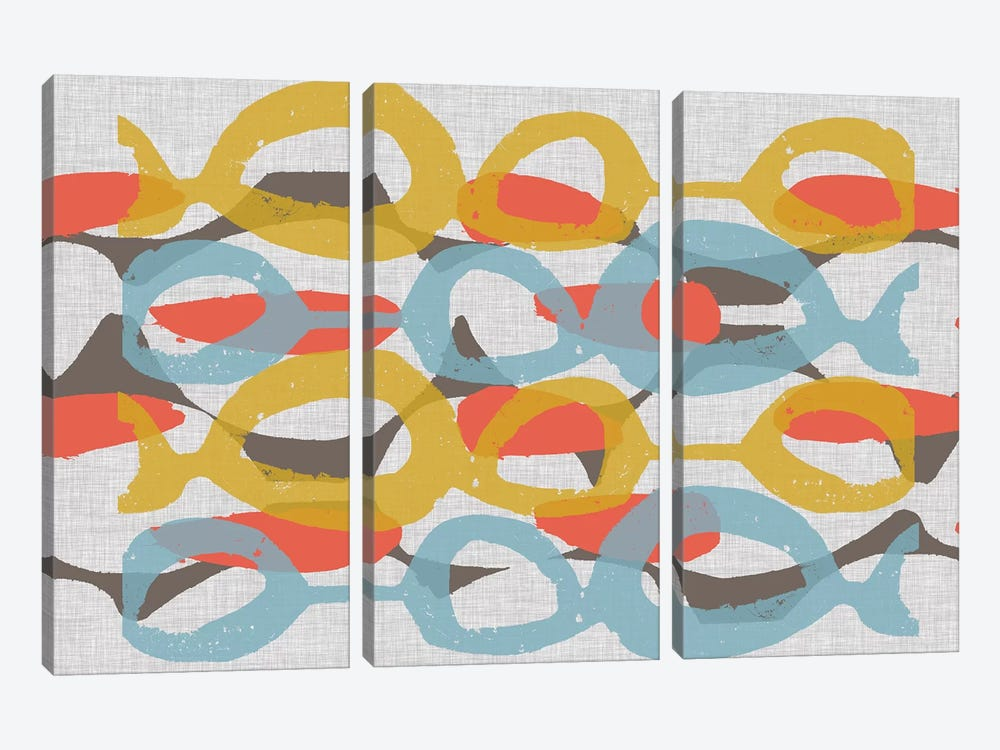 Mid Century Pattern I by Jennifer Goldberger 3-piece Canvas Print