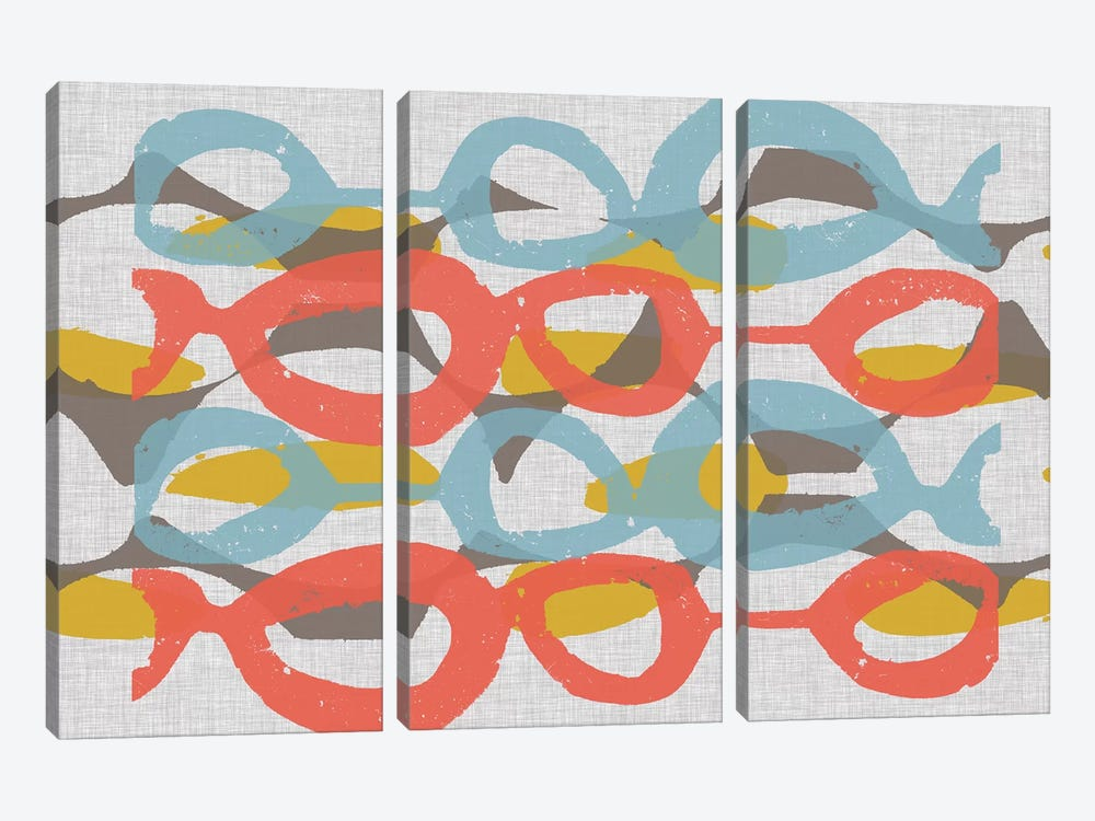 Mid Century Pattern II by Jennifer Goldberger 3-piece Canvas Wall Art