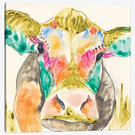 Hi-Fi Cow I Canvas Print #JGO60} by Jennifer Goldberger Canvas Art