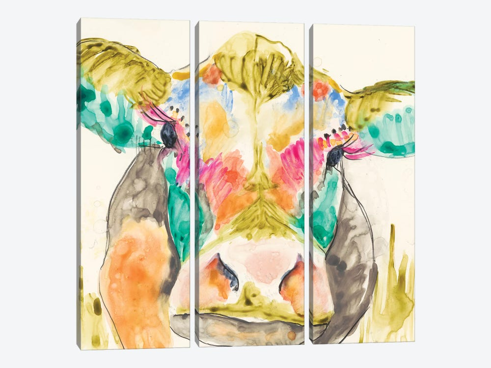 Hi-Fi Cow I by Jennifer Goldberger 3-piece Canvas Print