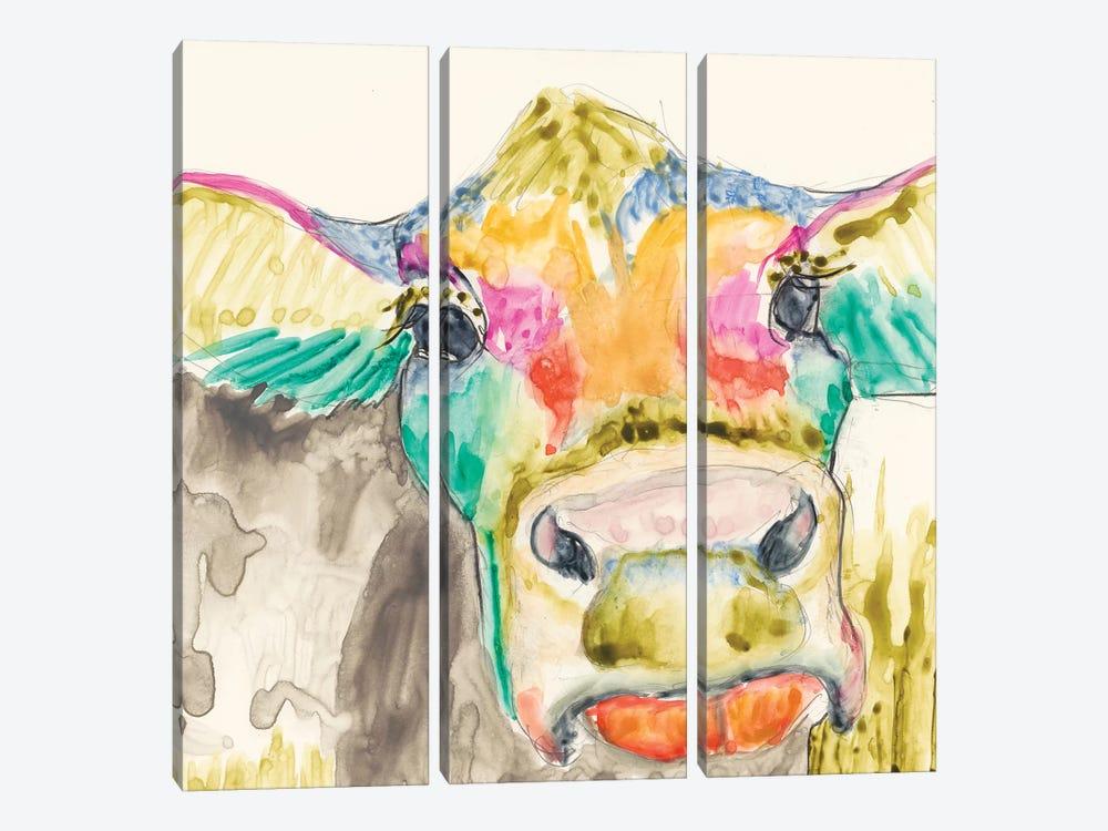 Hi-Fi Cow II by Jennifer Goldberger 3-piece Canvas Art