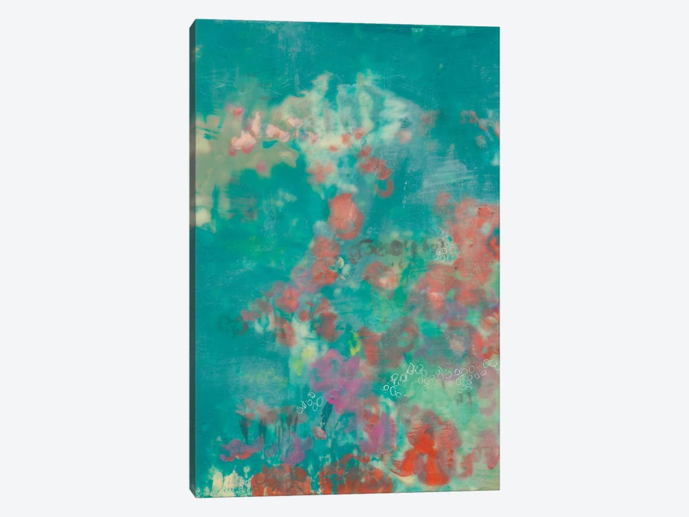 Teal Rose Garden I by Jennifer Goldberger 1-piece Canvas Print
