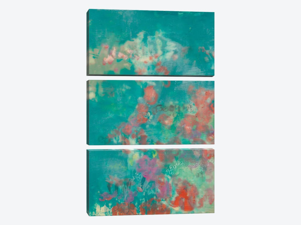 Teal Rose Garden I 3-piece Canvas Art Print