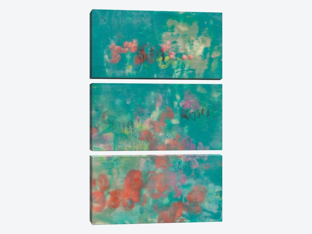 Teal Rose Garden II by Jennifer Goldberger 3-piece Canvas Wall Art