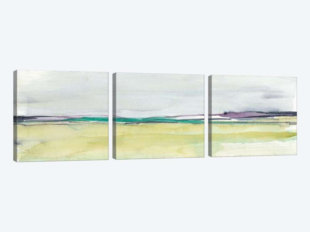 Amethyst & Emerald Horizon I by Jennifer Goldberger 3-piece Canvas Print
