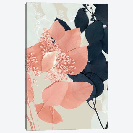 Indigo & Blush Leaves I Canvas Print #JGO670} by Jennifer Goldberger Canvas Artwork