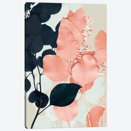 Indigo & Blush Leaves II Canvas Print #JGO671} by Jennifer Goldberger Canvas Art
