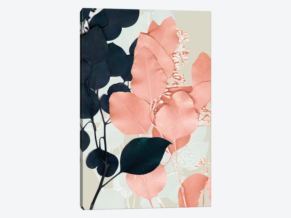 Indigo & Blush Leaves II 1-piece Canvas Wall Art