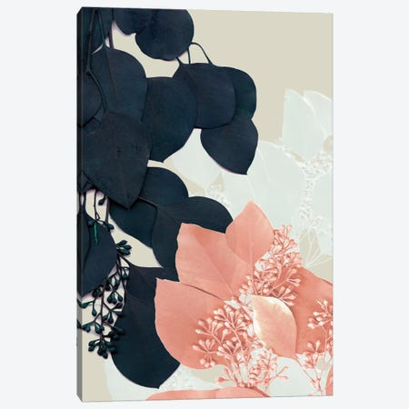 Indigo & Blush Leaves III Canvas Print #JGO672} by Jennifer Goldberger Canvas Wall Art