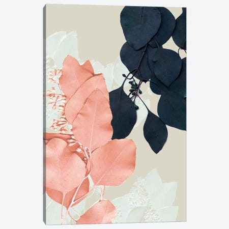 Indigo & Blush Leaves IV Canvas Print #JGO673} by Jennifer Goldberger Canvas Artwork