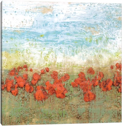 Coral Poppies I Canvas Art Print