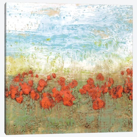 Coral Poppies I Canvas Print #JGO6} by Jennifer Goldberger Canvas Wall Art