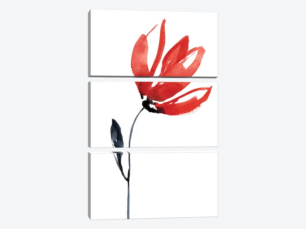Sumi-E en Rouge I by Jennifer Goldberger 3-piece Canvas Art