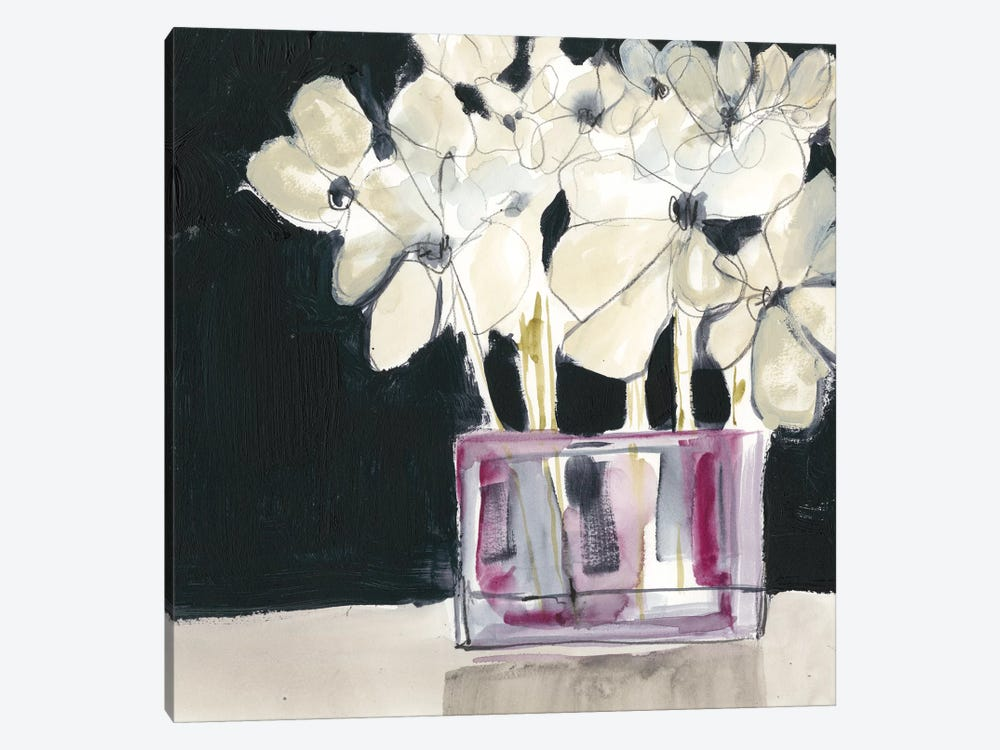 White Flowers In Fuchsia I by Jennifer Goldberger 1-piece Canvas Print