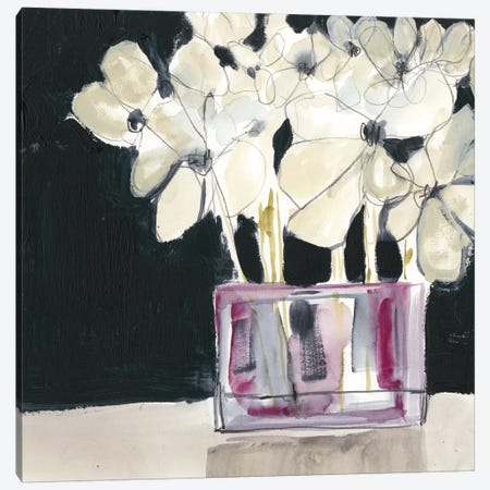 White Flowers In Fuchsia I Canvas Print #JGO711} by Jennifer Goldberger Canvas Print