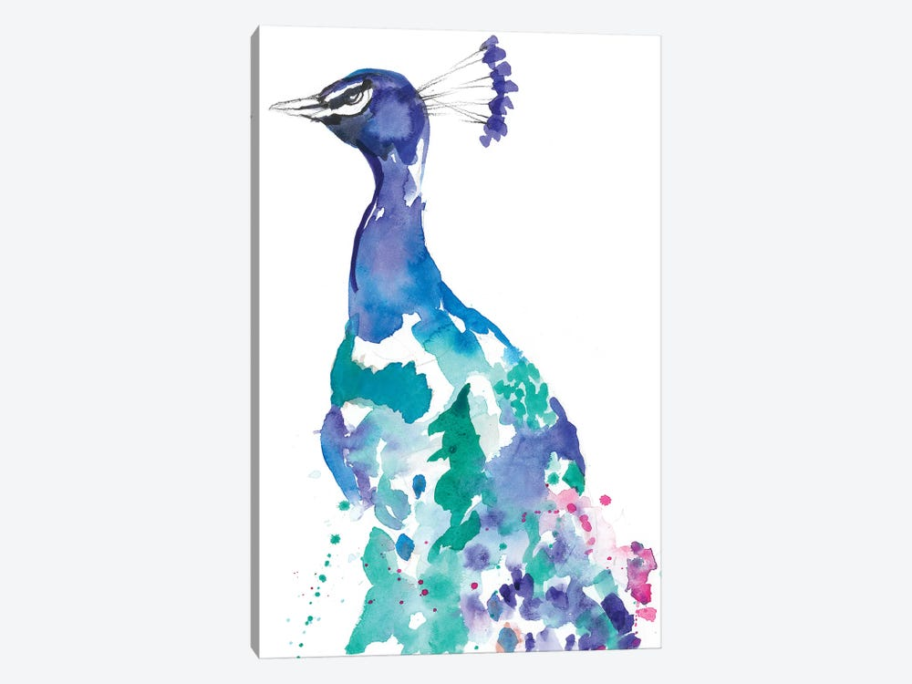 Peacock Splash II by Jennifer Goldberger 1-piece Canvas Art Print