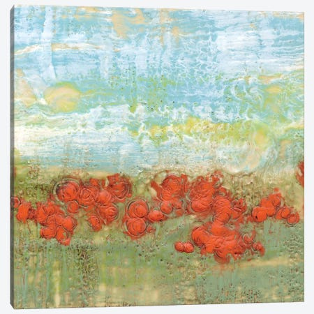Coral Poppies II Canvas Print #JGO7} by Jennifer Goldberger Canvas Artwork