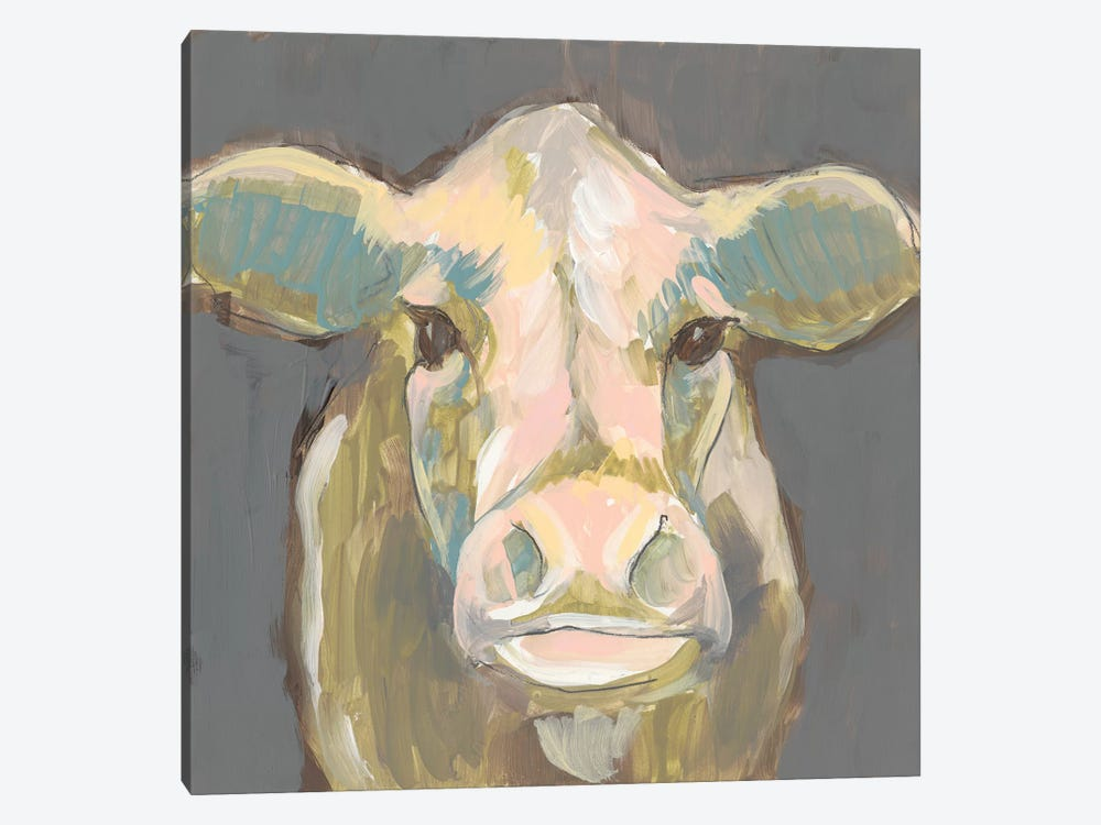 Blush Faced Cow I by Jennifer Goldberger 1-piece Canvas Art Print