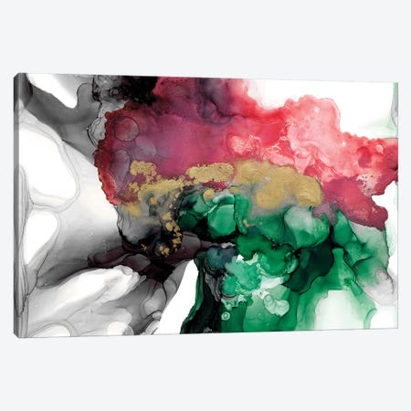 Emerald & Coral Expression I Canvas Print #JGO954} by Jennifer Goldberger Canvas Artwork