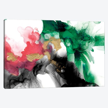 Emerald & Coral Expression II Canvas Print #JGO955} by Jennifer Goldberger Canvas Art