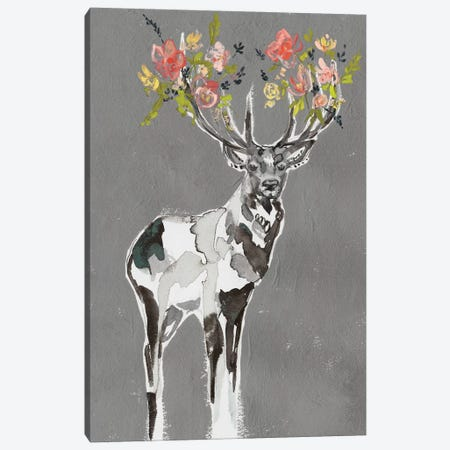 Deer & Flowers I Canvas Print #JGO996} by Jennifer Goldberger Canvas Artwork