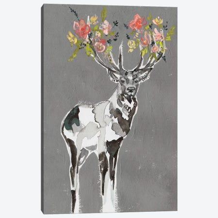 Deer & Flowers I Canvas Print #JGO996} by Jennifer Goldberger Canvas Artwork