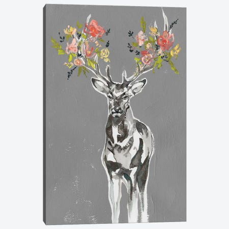 Deer & Flowers II Canvas Print #JGO997} by Jennifer Goldberger Canvas Artwork