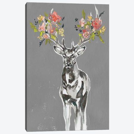 Deer & Flowers II Canvas Print #JGO997} by Jennifer Goldberger Canvas Artwork
