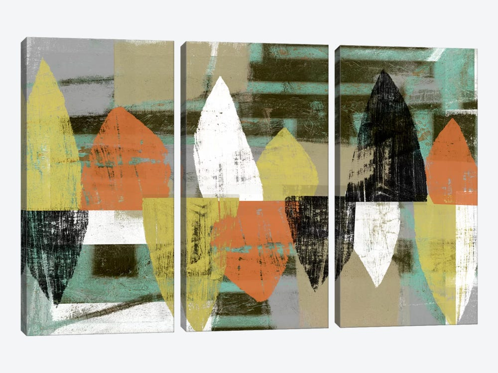 Shape Stack II by Jennifer Goldberger 3-piece Canvas Print
