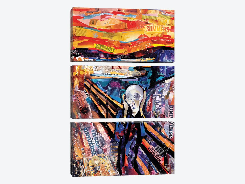 The Scream (Homage To Munch) by James Grey 3-piece Canvas Art Print