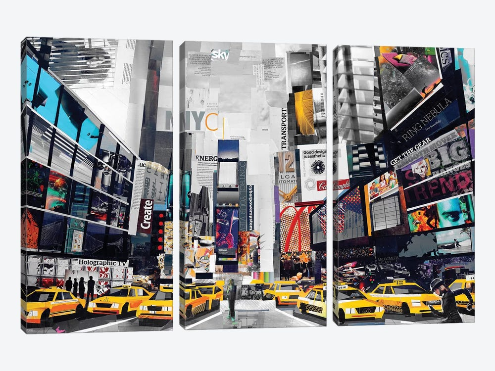 Times Square by James Grey 3-piece Canvas Artwork