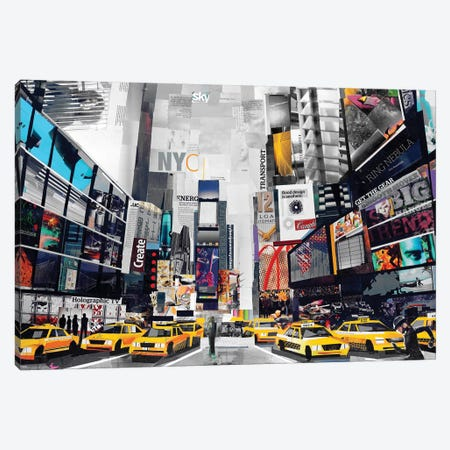 Times Square Canvas Print #JGR18} by James Grey Canvas Art