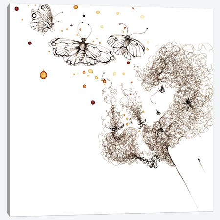 Butter Fly Kisses Canvas Print #JHB9} by Joanna Haber Canvas Art Print