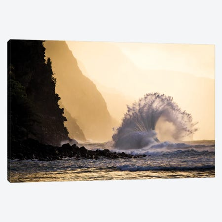 Wave Crashing, Na Pali Coast State Park, Kauai, Hawaii Canvas Print #JHE8} by Jaymi Heimbuch Canvas Artwork