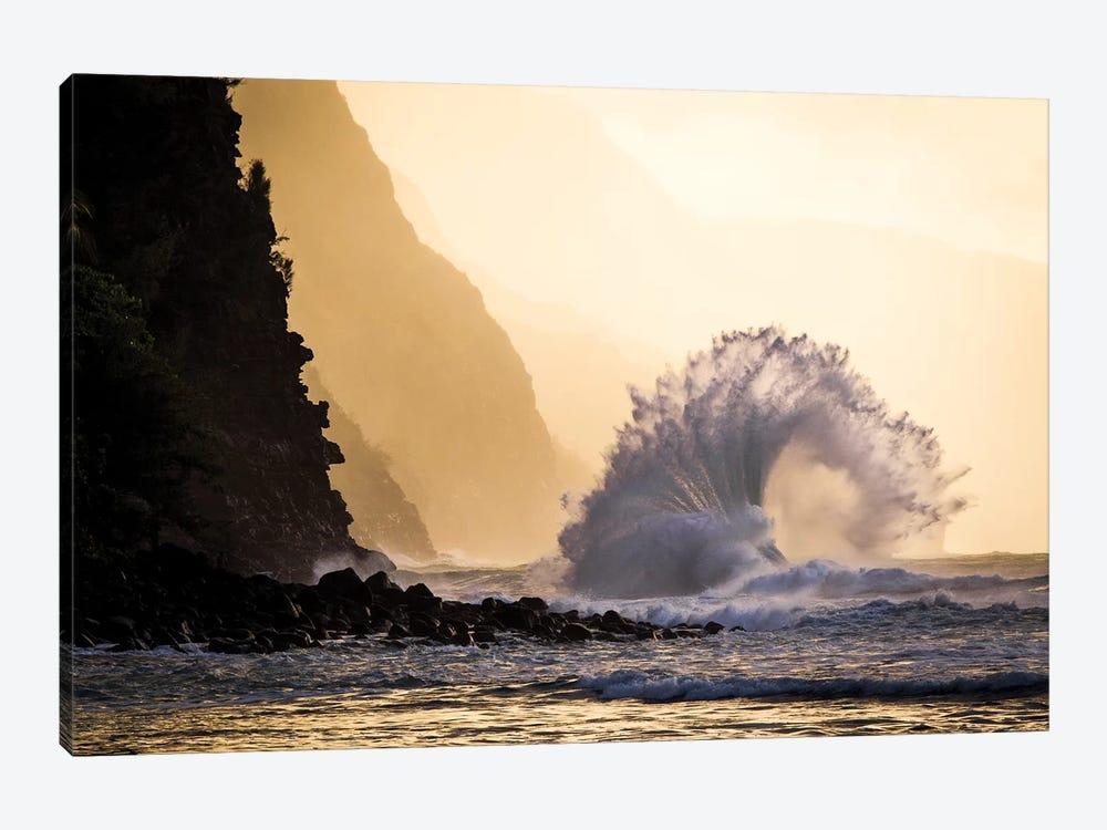 Wave Crashing, Na Pali Coast State Park, Kauai, Hawaii by Jaymi Heimbuch 1-piece Canvas Artwork