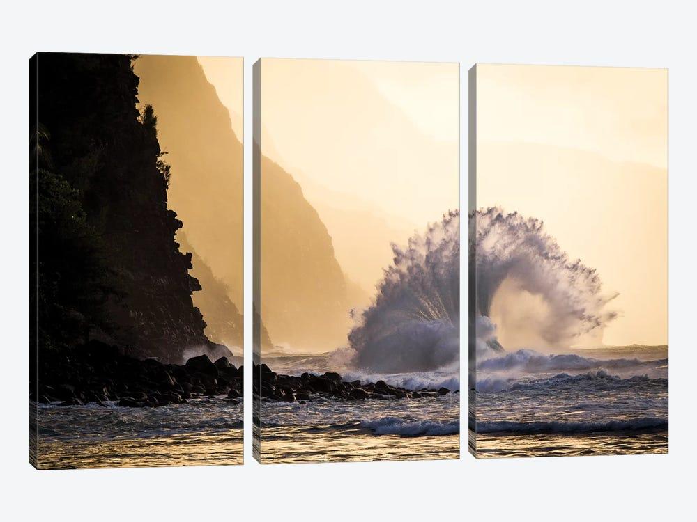 Wave Crashing, Na Pali Coast State Park, Kauai, Hawaii by Jaymi Heimbuch 3-piece Canvas Art