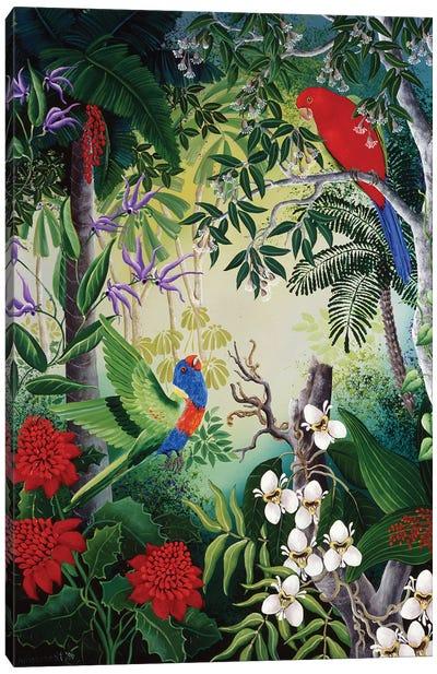 Parrots And Blooms Canvas Art Print