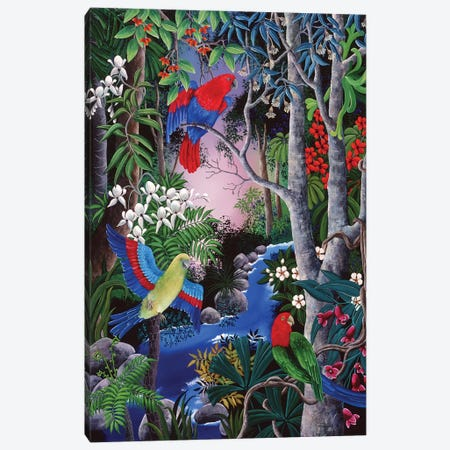 Tropical Parrots Canvas Print #JHL27} by Johanna Hildebrandt Canvas Artwork