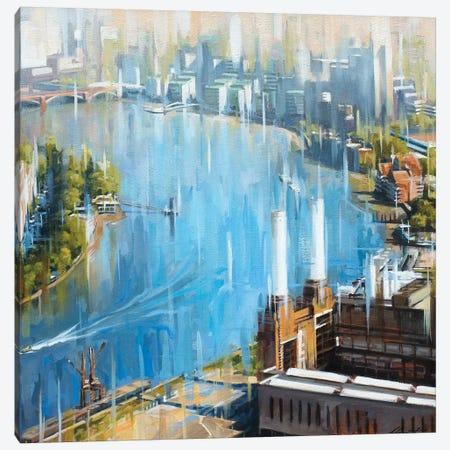 Downstream From Battersea Canvas Print #JHM12} by Johnny Morant Art Print