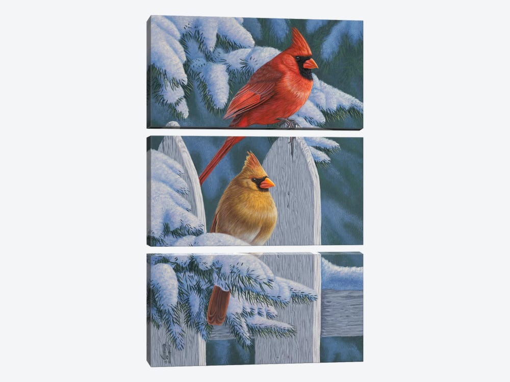 Snow Cardinals by Jeffrey Hoff 3-piece Canvas Artwork
