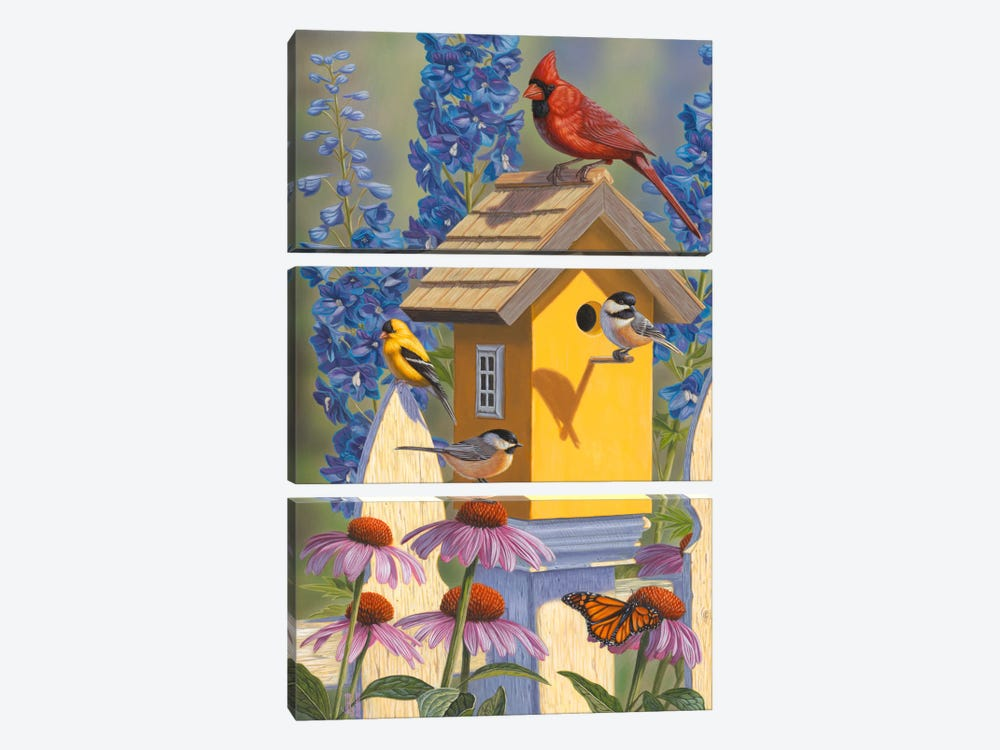 The Yellow Bird House by Jeffrey Hoff 3-piece Canvas Print