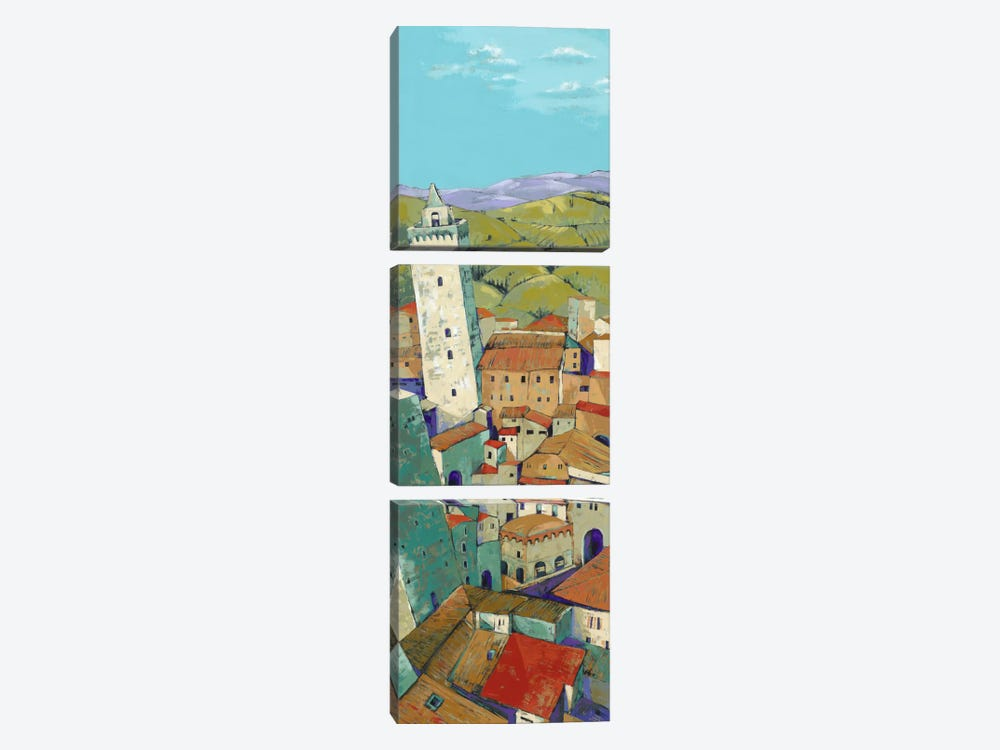 Rooftops Of San Gimignano by Jane Henry Parsons 3-piece Canvas Art