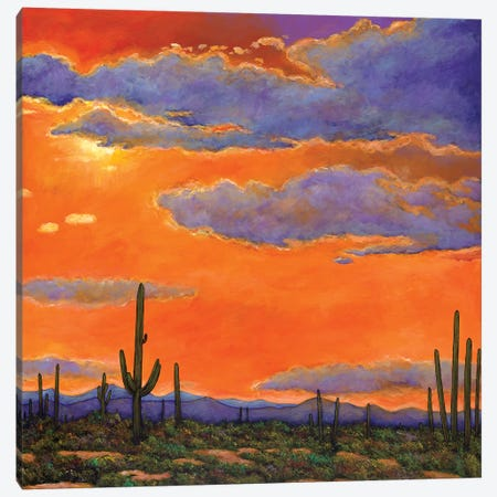Saguaro Sunset Canvas Print #JHR54} by Johnathan Harris Art Print