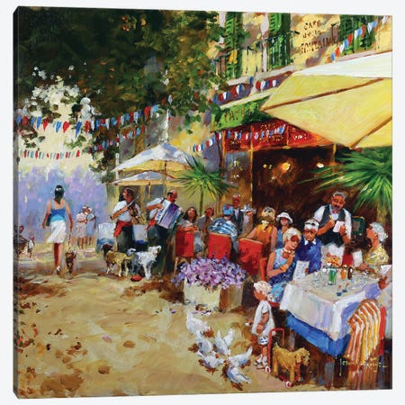 Lunch At Cafe Fontaine Canvas Print #JHS103} by John Haskins Canvas Artwork