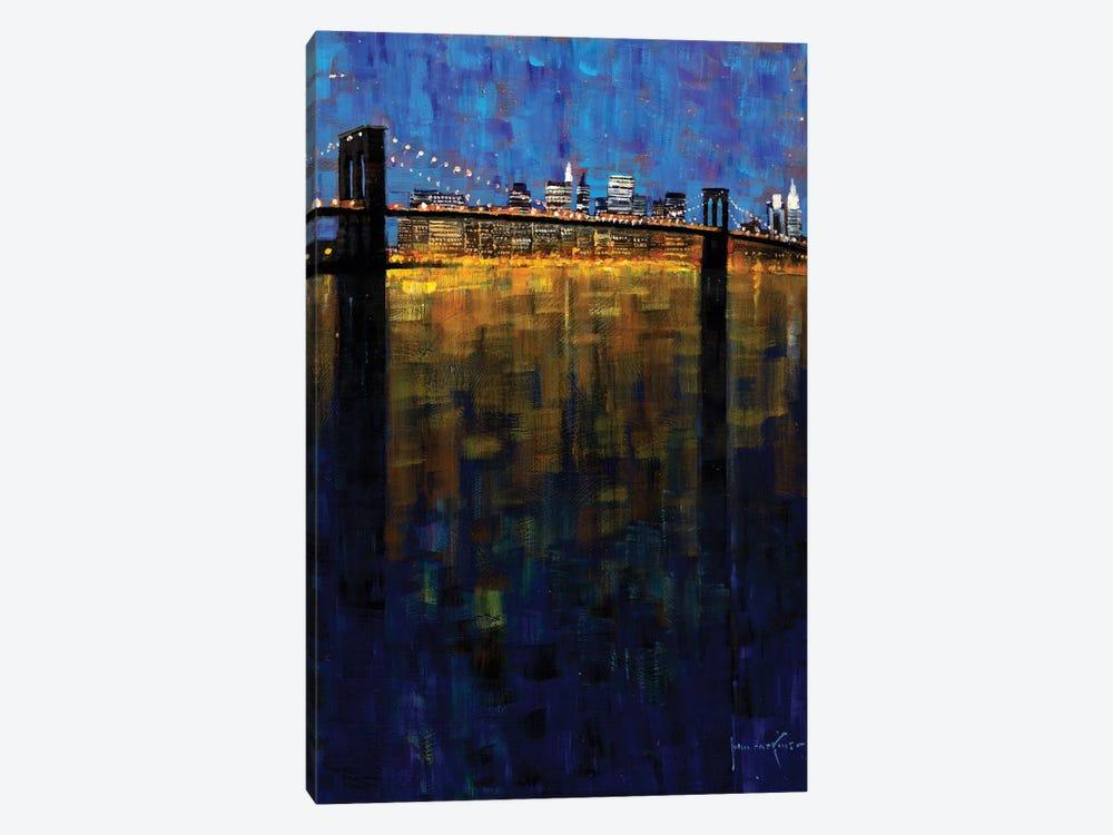 Brooklyn Bridge Nocturne by John Haskins 1-piece Canvas Art