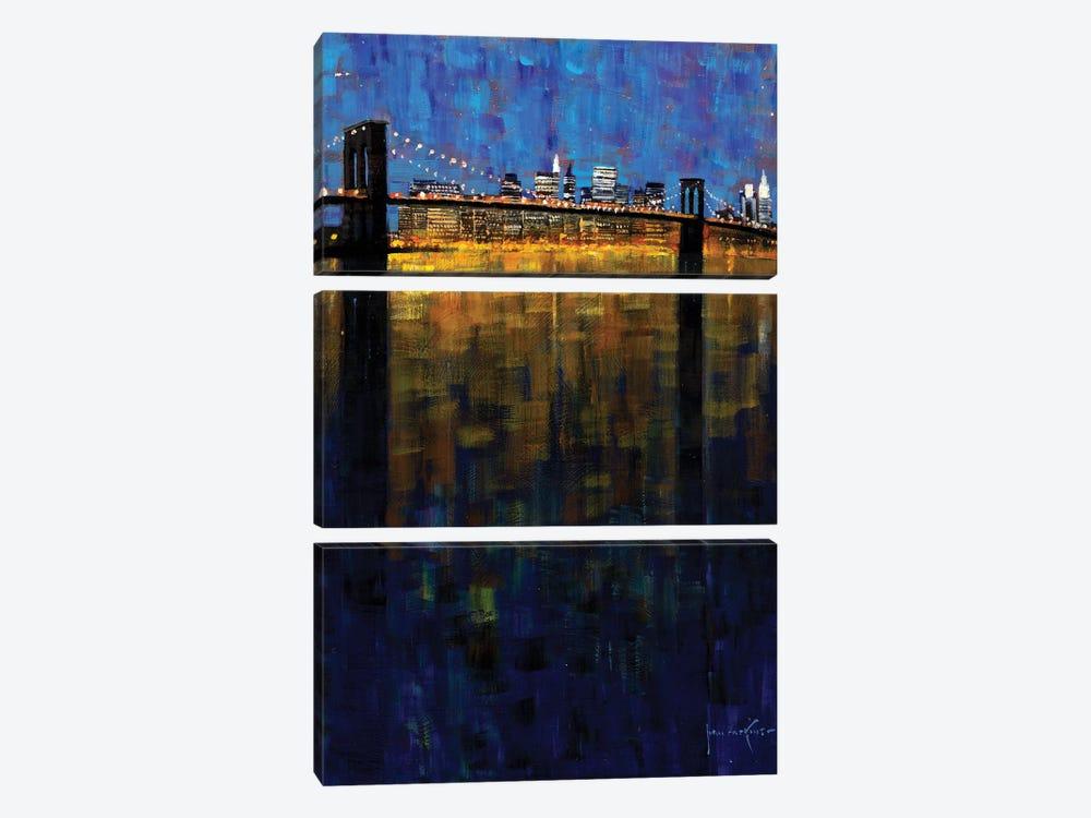 Brooklyn Bridge Nocturne by John Haskins 3-piece Canvas Artwork
