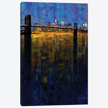 Brooklyn Bridge Nocturne Canvas Print #JHS10} by John Haskins Art Print
